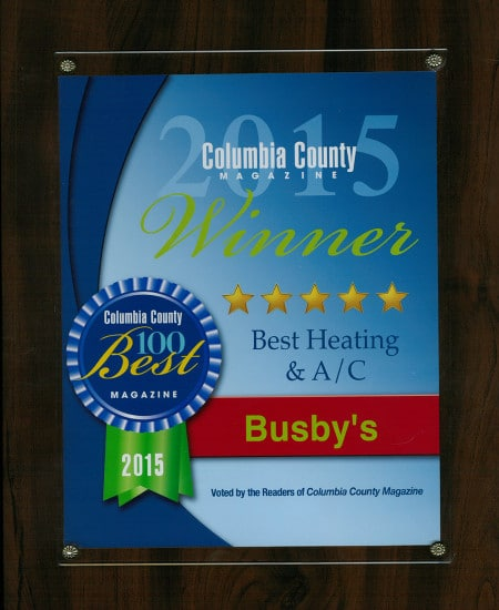 2015 Best Air Conditioning Service Award Columbia County | Busby's Heating and Air Augusta GA