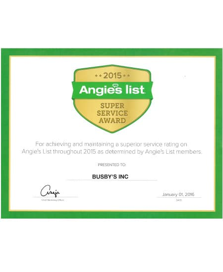 Angies List Service Award | Busby's Heating and Air Augusta GA